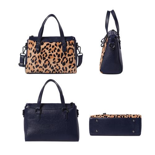 100% Genuine Leather Leopard Pattern Tote Bag (28x12x20cm) with Adjustable Shoulder Strap - Navy and Beige