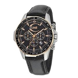 JUST CAVALLI Actually Chronograph Water Resistant Watch with Black Dial and Strap
