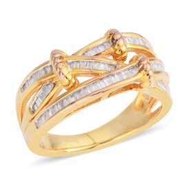 Diamond Criss Cross Ring in Gold Plated Sterling Silver 5 Grams