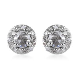 9K White Gold Diamond (Rnd) Stud Earrings (with Push Back) 0.33 Ct.