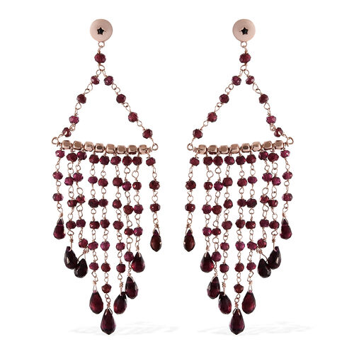 GP Rhodolite Garnet (Rnd), Kanchanaburi Blue Sapphire Earrings (with Push Back) in Rose Gold Overlay Sterling Silver 15.360 Ct.