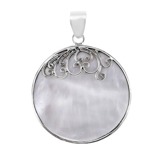 Royal Bali Collection Mother of Pearl Mop Pendant in Sterling Silver