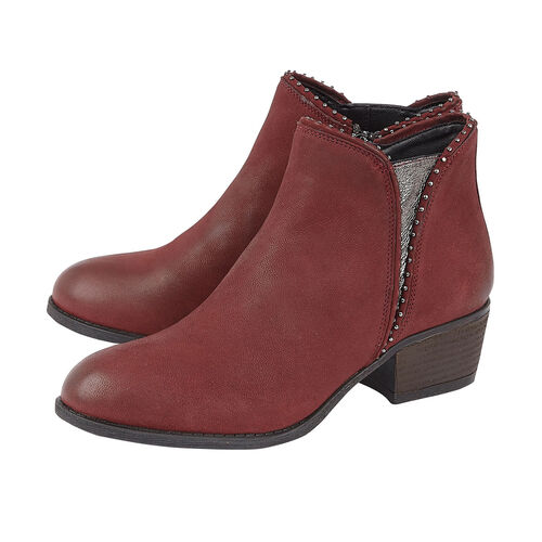Lotus BENNY Block Heel Ankle Boots (Size 3) - Red