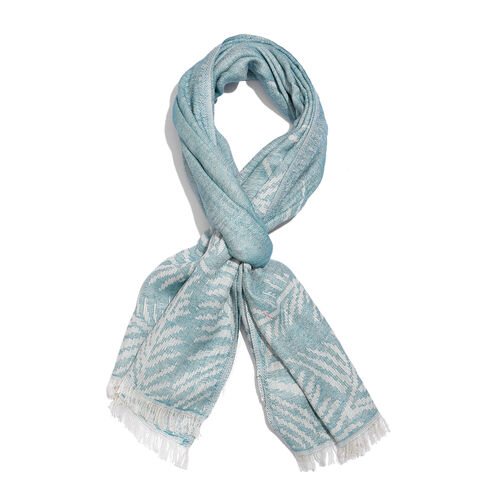 50% Cotton Blue and White Colour Leaves Embroidered Scarf (Size 180x70 Cm)