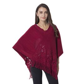 Beads Flower Hollow - Out Pattern Poncho with Tassels (Size 70x65 Cm) Colour Wine
