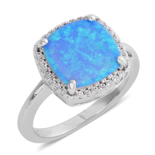 Simulated Blue Opal (Sqr), Simulated Diamond Ring in Silver Bond.
