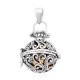 Royal Bali Collection - Ethiopian Welo Opal Harmony Ball Pendant in Yellow Gold Overlay Sterling Sil