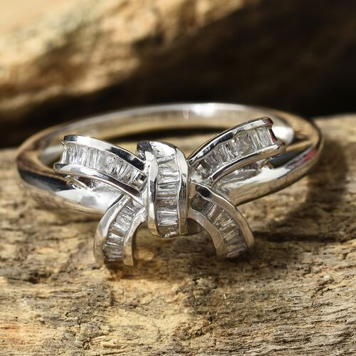 Diamond (Bgt) Bow Knot Ring in Platinum Overlay Sterling Silver 0.330 Ct.