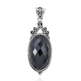 One Time Deal- Royal Bali Collection Boi Ploi Black Spinel (Ovl 30x18 mm) Pendant in Sterling Silver