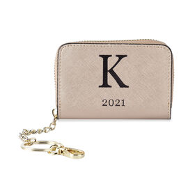 Genuine Leather Alphabet K Wallet with Engraved Message on Back Side (Size 11X7.5X2.5 Cm) - Gold