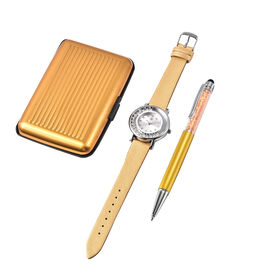 3 Piece Set - STRADA Japanese Movement Crystal Studded Water Resistant Watch with Golden Strap, Card