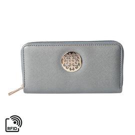 Silver RFID Long Clutch Wallet