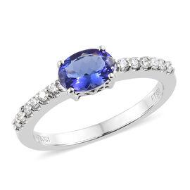 RHAPSODY 950 Platinum AAAA Tanzanite (Ovl) (VS/E-F) Diamond Ring 1.000 Ct.