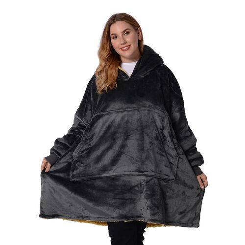 Serenity Night - Supersoft Double Layer Dark Grey Blanket Hoodie (Size 85x90cm)
