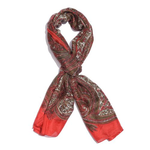 100% Mulberry Silk Red, Green and Multi Colour Handscreen Paisley and Leaves Printed Scarf (Size 200X180 Cm)