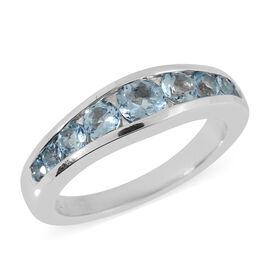 0.81 Ct AA Espirito Santo Aquamarine Half Eternity Band Ring in 14K White Gold 4.47 Grams
