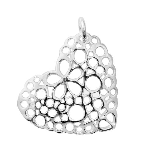 Rhodium Overlay Sterling Silver Heart Pendant