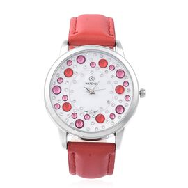 STRADA Japanese Movement Water Resistant Multi Colour Austrian Crystal Studded Watch with Red Strap