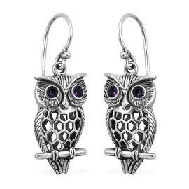Royal Bali 0.38 Ct Amethyst Owl Earrings in Sterling Silver 6.30 Grams With Hook