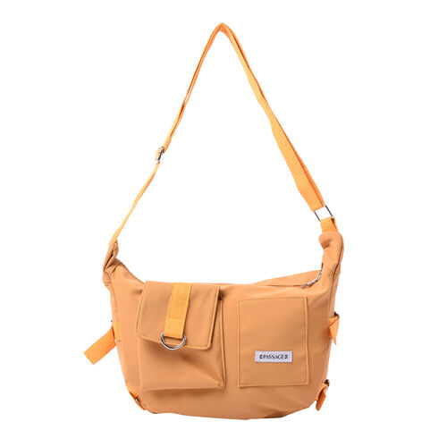 PASSAGE Yellow Colour Crossbody Bag with Flap and Slip Pockets in Front and Zipper Pocket in Back (3