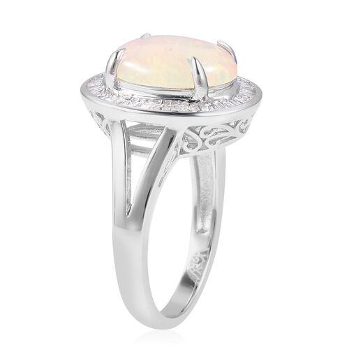 Ethiopian Welo Opal Premium size(Ovl 13x10 mm), Diamond Ring in Rhodium Overlay Sterling Silver 3.070 Ct.