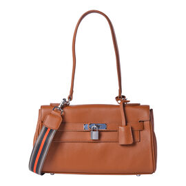 100% Genuine Leather Tote Bag (30x19x8cm) with Stripe Pattern Shoulder Strap in Brown