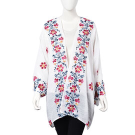 Flower Embroidery Pattern Kimono (Size 75x80 Cm) - White and Multi