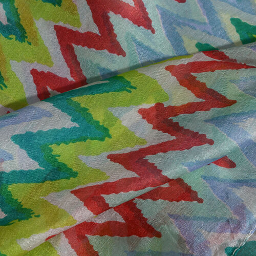 100% Mulberry Silk Red, Green and Multi Colour Zigzag Printed Scarf (Size 170X50 Cm)