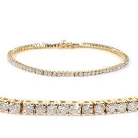 14K Yellow Gold EGL Certified Diamond (Rnd) (I2/G-H) Tennis Bracelet (Size 7.25) 3.01 Ct, Gold wt 7.
