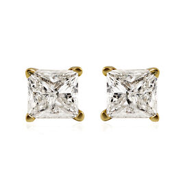 1 Carat Diamond Solitaire Stud Earrings with Push Back in 14K Gold EGL Certified I2 I3 HI