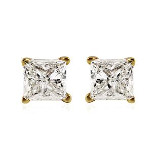 1 Carat Diamond Solitaire Stud Earrings in 14K Gold EGL Certified I2 I3 HI