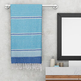 100% Cotton Striped Towel With Fringes (Size 170x90cm) - Turquoise Blue
