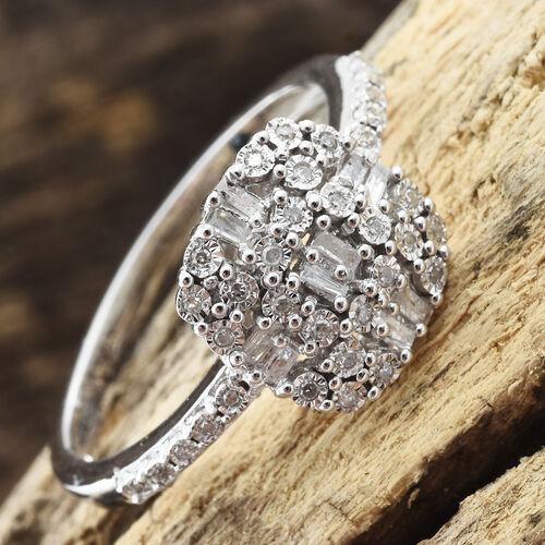 GP Diamond (Bgt and Rnd), Kanchanaburi Blue Sapphire Ring in Platinum Overlay Sterling Silver 0.350 Ct.