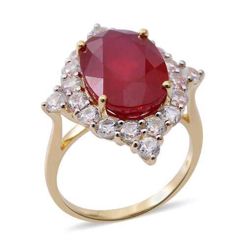 Limited Edition- 9K Yellow Gold Very Rare Size AAA African Ruby (Ovl 14X 10 mm 8.75 Ct), Natural White Cambodian Zircon Ring 11.000 Ct.