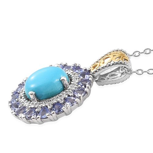 Arizona Sleeping Beauty Turquoise (Ovl 2.30 Ct), Tanzanite and Natural Cambodian Zircon Pendant with Chain in Platinum and Gold Overlay Sterling Silver 3.750 Ct.
