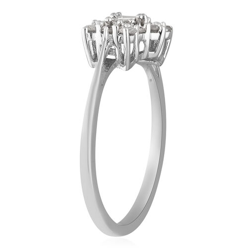 9K White Gold SGL Certified Diamond (I3/G-H) Cluster Boat Ring 0.500 Ct.