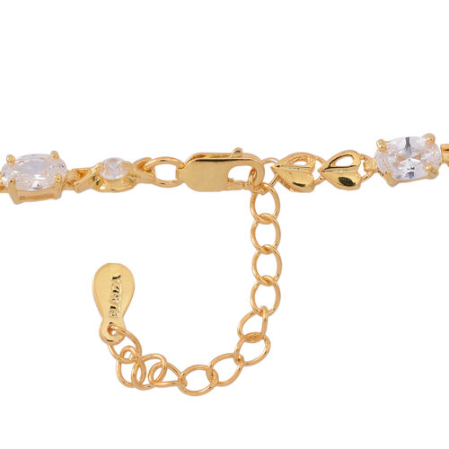 One Time Deal-ELANZA Simulated White Diamond (Ovl and Rnd) Bracelet (Size 7 with 1 inch Extender) in 14K Gold Overlay Sterling Silver, Silver wt 4.00 Gms.