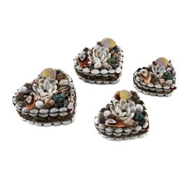 Set of 4 - Hand Crafted Heart Shape Seashell Jewellery Box with Batik Fabric Inside