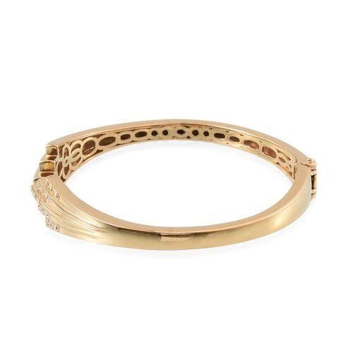 J Francis - 14K Gold Overlay Sterling Silver (Rnd) Bangle (Size 7.5) Made with SWAROVSKI ZIRCONIA