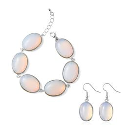 Opalite (Ovl) Bracelet (Size 8.5 with 1 inch Extender) and Hook Earrings in Stainless Steel 177.00 C