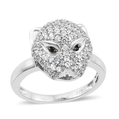 J Francis - Designer Inspired- Platinum Overlay Sterling Silver (Rnd) Leopard Ring Made with SWAROVS