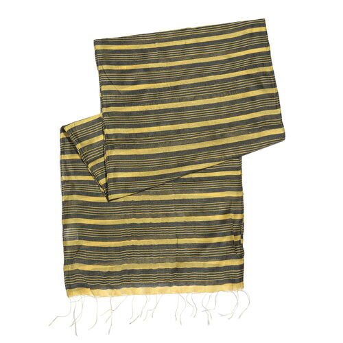 Set of 2 - Black and Gold Colour Stripes Pattern Scarf (Size 180X30 Cm), Black and Golden Colour Scarf (Size 180X35 Cm)