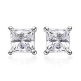 J Francis - Platinum Overlay Sterling Silver (Sqr) Stud Earrings (with Push Back) Made with SWAROVSK