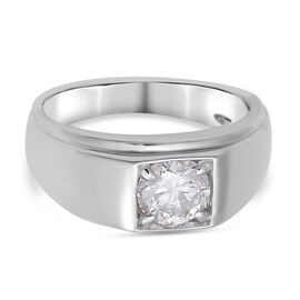 Moissanite Ring in Rhodium Overlay Sterling Silver 1.23 Ct, Silver Wt. 5.30 Gms