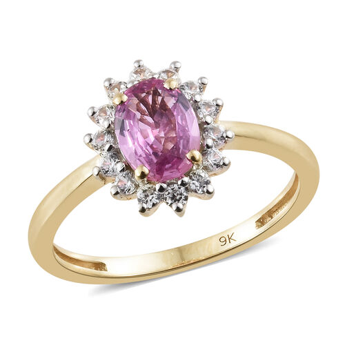 9K Yellow Gold AAA Pink Sapphire (Ovl), Natural Cambodian Zircon Halo Ring 1.100 Ct.