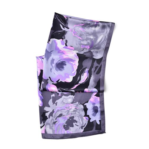 First Time Ever Digital Print - 100% Mulberry Silk Black, Purple and Multi Colour Rose Flower Pattern Scarf (Size 170x52 Cm) Finish Silk 50 Gram