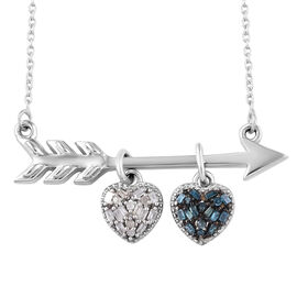 Blue and White Diamond (Bgt and Rnd) Heart and Arrow Necklace (Size 18 with 2 inch Extender) in Plat