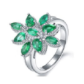 AAA Kagem Zambian Emerald (Mrq), Diamond Cluster Ring in Rhodium Overlay Sterling Silver 1.99 Ct.