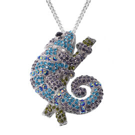 Multi Colour Austrian Crystal Chameleon Brooch or Pendant With Chain (Size 24) in Stainless Steel