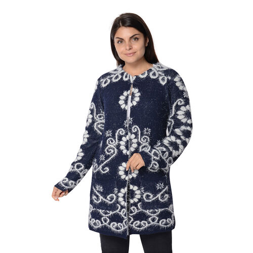 Soft and Smooth Winter Floral Pattern Sweater Coat with 2 Pockets (Size 51x81 Cm) - Navy and White